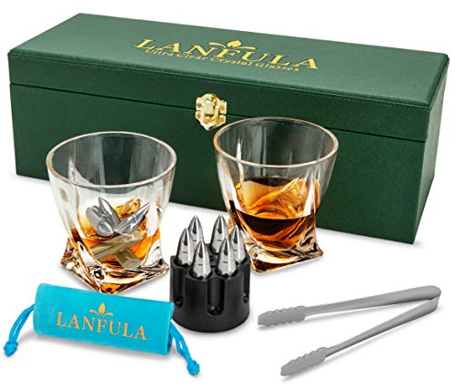 LANFULA Whiskey Glass Gift Set for Men, Whiskey Glasses and Stones Set with Gift Box, 6 XL Stainless Steel Whiskey Bullets Chillers and 10oz Whiskey Glasses, Whiskey Gift For Dad, Husband, Boyfriend