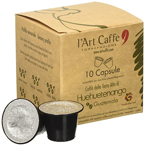 L'Art Caffè delle Terre Alte di Huehuetenango Capsule Compatibili con Macchine Sistema Nespresso - 10 Pezzi