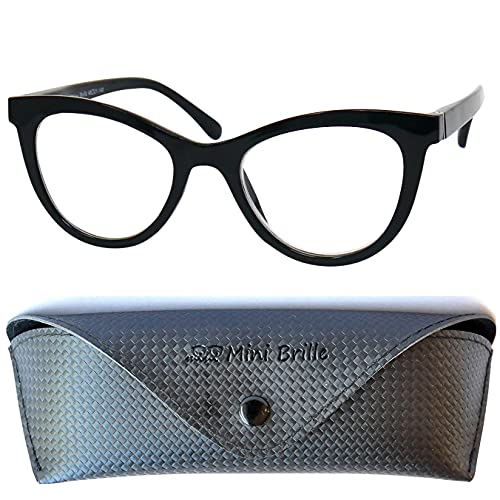 Cateye Dicker Blaulichtfilter Rahmen Lesebrille, GRATIS Brillenetui, Kunststoff Brillengestell (Schwarz), Anti Blaulicht Brille Damen +1.0 Dioptrien