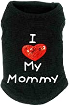 Cute Pet Costume Pet Vest Sleeveless T-Shirts Apparel L Lovely Dog Clothes Cotton I Love Mummy Printed Paillette Heart Emb...
