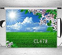 HD 10x7ftグリーントウモロコシ畑のビニール写真背景春サニー風景ピーチブロッサムピンクの花のカスタマイズされた写真の背景の写真撮影スタジオプロップCL478