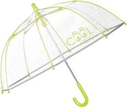 Perletti Cool Kids, Paraguas Transparente Niño y Niña, Paraguas de Burbuja Resistente, Antiviento y Largo, Apertura de Seguridad,  Verde