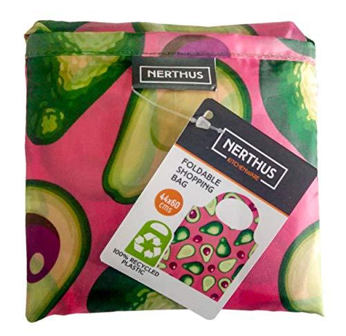 Nerthus FIH 686 686-Bolsa de la Compra 100, Reutilizable, Plegable, Bolsa Supermercado Resistente Compacta y Ecológica, Plástico 100% Reciclado, Aguacates, 43x43 cm