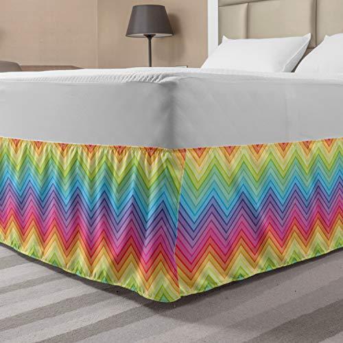 Ambesonne Rainbow Elastic Bed Skirt, Colorful Zig Zag Chevron Pattern Geometric Modern Sharp Design Illustration, Wrap Around Fabric Bedskirt Dust Ruffle for Bedroom, Queen, Yellow Magenta