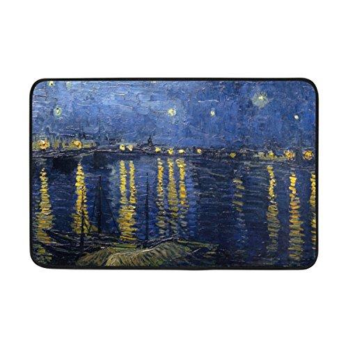 JSTEL Van Gogh Cielo Lavable Felpudo para Interiores/al Aire Libre jardín Oficina Felpudo, Cocina Comedor Pasillo baño Pet Alfombra de Entrada con Base Antideslizante.
