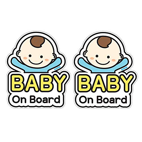 GEEKBEAR Baby on Board Sticker and Decal (Basic boy, 2 Pack) - Baby Bumper Car Sticker - Baby Window Car Sticker - Baby in Car Sticker - Cute Safety Caution Decal Sign for Cars