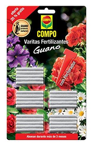 Compo Fert.Guano (x24 6 Gratis) Varitas Fertilizantes con Guano para Plantas de Interior y Exterior, Adecuada duración de hasta 3 Meses, 30 Unidades, 24.3 X 14.4 X 0.5 Cm