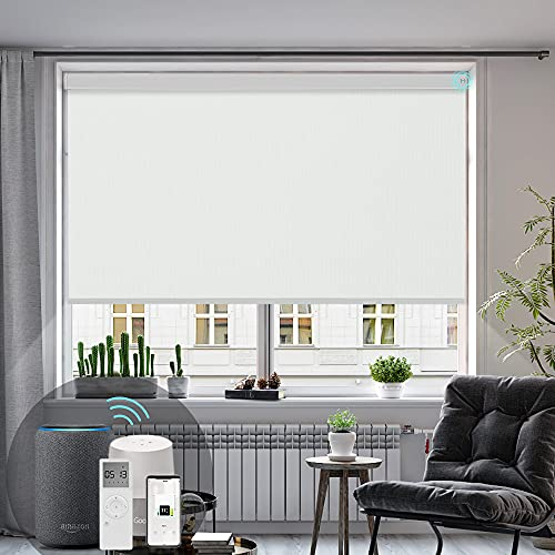 Hauschen Smart Motorized Roller Shades Blinds for Window with Remote, 100% Blackout Electric Roller...