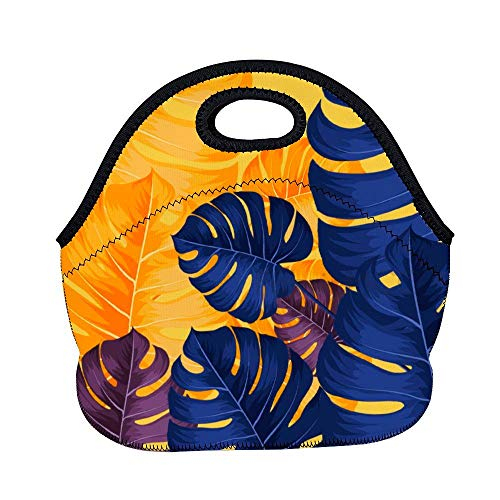 Bolsa de almuerzo de 11.8 x 11 x 6.3 pulgadas, color amarillo eléctrico azul gráfico ilustración lonchera lonchera bolsa de almuerzo bolsa de almuerzo bolsa de comida aislada de neopreno