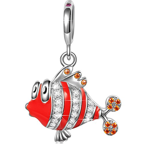NinaQueen Ocean Clownfish 925 Sterling Silver Dangle Charms Fit pandöra Charms for Bracelet...