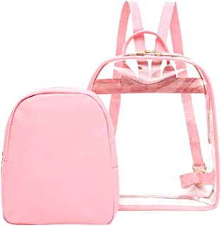 Wultia - Transparent Backpack Women Bookbag Candy Clear Jelly Women Travel Backpack Purse Crystal Beach Bag Portable Women Jelly Bags #G8 Pink