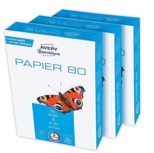 Avery Zweckform 2574 Druckerpapier, Kopierpapier (1.500 Blatt, 80 g/m², DIN A4 Papier, hochweiß, für alle Drucker) 1 Box mit 3 Pack