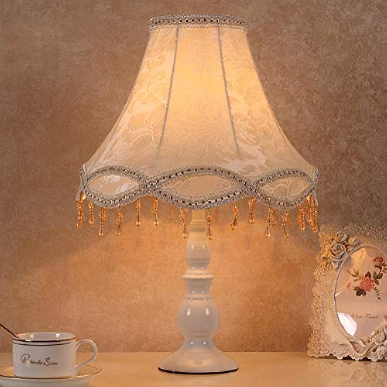 FXMJ Einfacher Europischer Stil Bett Tischlampen, Romantisch Gefühle Leseleuchte Nachttischlamp Persnlichkeit Luxuris Quaste Schreibtischleuchte,Weiß,SwitchButton