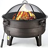 OT QOMOTOP Thicken Fire Pit, 34' Bronze Fire Pits Outdoor Wood Burning Firepit with Spark Screen, Waterproof Cover and Fireplace Poker for Backyard Garden Patio Bonfire Heating, Camping and BBQ