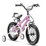 MYRCLMY Bici para Niños Muchachas De Los Muchachos del Estilo Libre De La Bicicleta con Ruedas De Entrenamiento, con La Bicicleta De Pata De Cabra Niño con El Guardabarros,Rosado,20inch