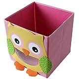 4 Stück TE-Trend Textil Faltbox Spielbox Tiermotive Frosch Affe Eule Kuh Aufbewahrung Truhe für Spielzeug faltbar 28 x 28 x 28 cm - 4