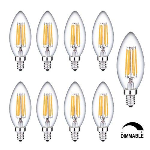9 Pack E14 C35 ampoule filament lED – 2700 K Blanc Chaud, kingcoo Edison et Dimmable Energy Saving Filament LED Candle ampoule équivalent 60 W incandescent lumière