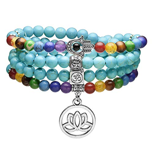 Top Plaza 108 Mala Prayer Beads 7 Chakra Healing Crystals Yoga Meditation Stretch Bracelets Green Turquoise Gemstone Beads Wrap Bracelet Necklace