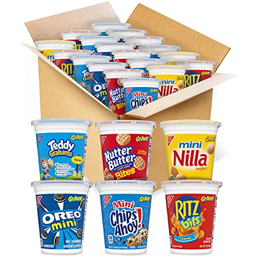 OREO Mini Cookies, CHIPS AHOY Mini Cookies, RITZ Bits Cheese Crackers, Teddy Grahams Honey, Nutter Butter Bites, Mini Nilla Wafers Cookies Go-Cup Variety Pack, 14 Go-Cups