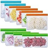 Set de 10 Bolsas de Almacenamiento Reutilizables sin BPA y Bolsas de Almuerzo de Silicona y Plástico Incluye 4 Bolsas de Sándwich 4 Bolsas de Refrigerio y 2 Bolsas de Galón para Almuerzo