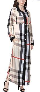 GaoYunQin Femme Robe Plaid Chemises de Nuit Longues pour Femme, Manches Longues Robe avec Poches, Toute La Longueur Chemis...