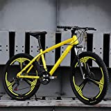 QCLU 26 Inch Mountain Bike, Variable Speed 21 Speed Mountain Bike Adult Student Bicycle Outdoor Driving Feeling Durable Relaxed and Comfortable Bike (Color : Yellow)