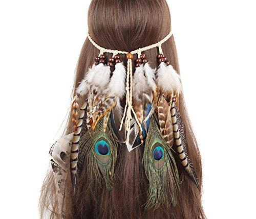 TININNA Damen Stirnbänder Frauen Feder Quasten Gürtel Stirnband Haarband Haarschmuck Kopfschmuck Haar Hippie Boho Federn Mit Holzperle Haarschmuck Haarbänder EINWEG Verpackung