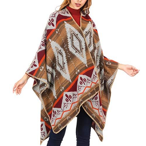 DoFiyeng Damen Poncho Cape Poncho Umhang Modeschal Umschlagtuch Strickjacke Vorne Offen Schal Wrap(Weißes Muster)