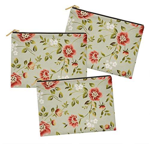 S4Sassy Gris Feuilles et camélia Kanjiro Floral Lot de 3 Sacs à Maquillage Maquillage-6 x 8 Pouces