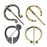 4 Pack Women Girls Brooches Pins, Decorative Medieval Vintage Viking Clasp Pin, Scarf Cloa...