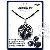 Collar de árbol de la Vida con Colgante Piedra Natural Energeticas - Distintas Piedras Semipreciosas (Aventurina Azul)