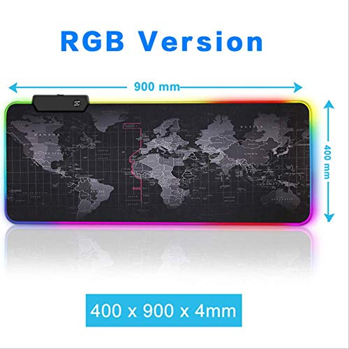 Alfombrilla Gaming Game Led Gaming Mouse Pad Large Mouse Pad Gamer Big Mouse Mat Computer Mousepad Led Backlight XL World Map Desk Mat Keyboard Mice Mat RGB 90X40