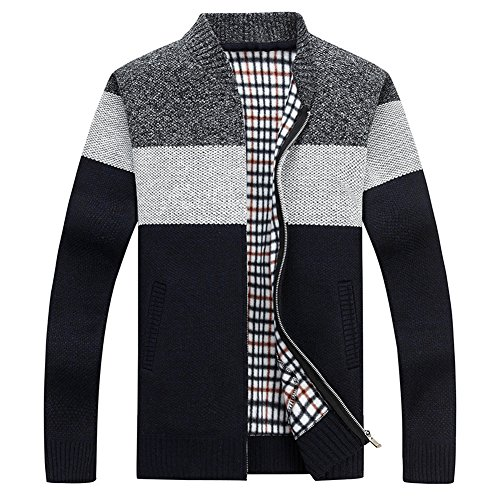XinYangNi Men's Knit Cardigan Sweaters Casual Slim Fit Stand Collar with Full Zip and Pockets Dark Grey US S/Asia L