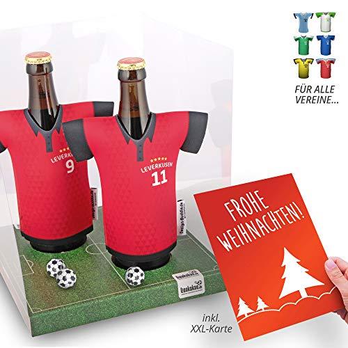 Weihnachts-Geschenk | Der Trikotkühler | Das Männergeschenk für Bayer Leverkusen-Fans | Langlebige Geschenkidee Ehe-Mann Freund Vater Geburtstag | Bier-Flaschenkühler by Ligakakao