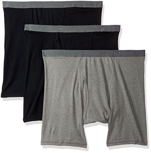 Fruit of the Loom Men's Tall Tag-Free Underwear & Undershirts, Big Man - Boxer Brief - 3 Pack, 4X-Large