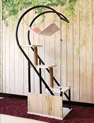 Cat Klettergerüst mehrschichtig Massivholz-Plattform Sisal Katze fangen Pfeife Eisen Kletterstange Cat Turm,D,60 * 91 * 170.5CM