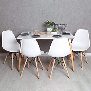 Regalos Miguel - Conjuntos - Conjunto Mesa Tower Rectangular 120 x 80 cm Blanca y Pack 4 Sillas Tower Basic - Blanco - Envío Desde España