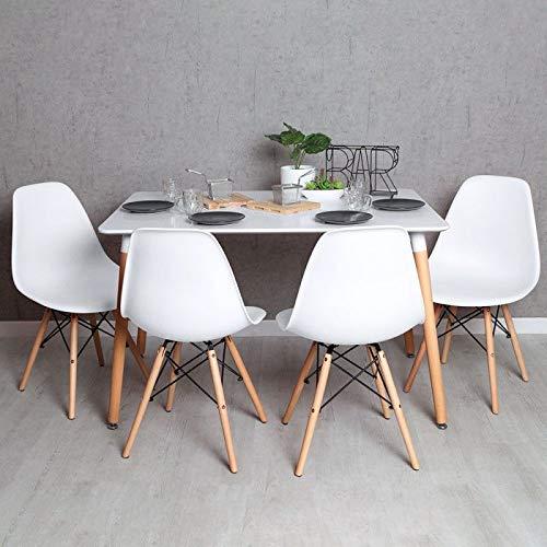 Regalos Miguel - Conjuntos - Conjunto Mesa Tower Rectangular 120 x 80 cm Blanca y Pack 4 Sillas Tower Basic - Blanco - Envio Desde Espana