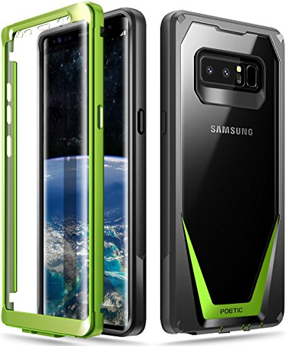 Poetic Galaxy Note 8 Case, Guardian [Scratch Resistant Back] [360 Degree Protection] Full-Body Rugged Clear Hybrid Bumper Case with Built-in-Screen Protector for Samsung Galaxy Note 8 Black/Green