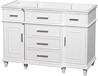 Wyndham Collection Berkeley 48 inch Single Bathroom Vanity in White with No Countertop, No Sink, No Mirror