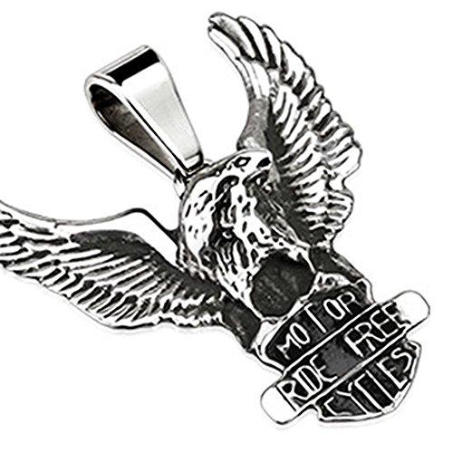 Bungsa® Adler Kettenanhänger Motor Cycles Ride Free Biker Edelstahl silber Herren (Pendant Anhänger Charm Beads Chirurgenstahl Damen Männer Schmuck)