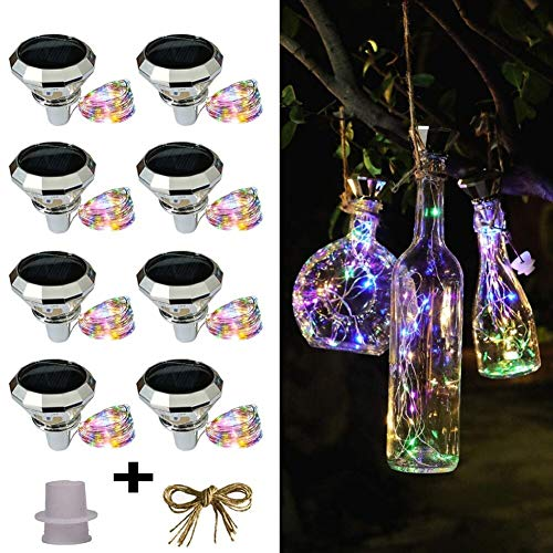 xjzjy 8pcs solar wine bottle cork lights, 2m 20 led copper wire fairy tale garland light string for Christmas wedding party art decoration lights (Multi)
