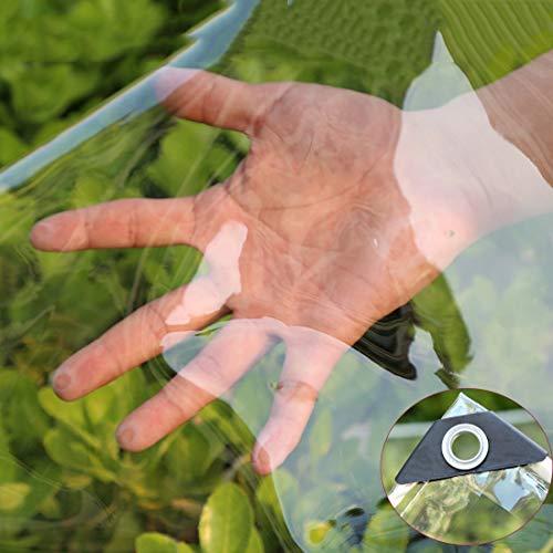 Wasserdichte Transparente PVC Plane,Wetterfeste Plane mit Ösen Schutzhaube Vordächer,0,35mm Regenschutz Abdeckplane für Gartenmöbel Gewächshaus Pet Hutch Dach...