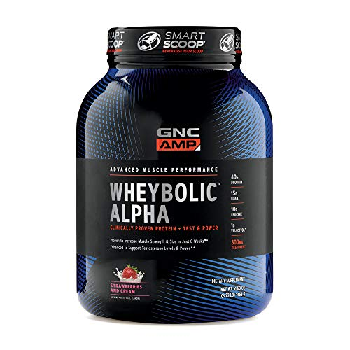 GNC AMP Wheybolic Alpha Whey Protein Powder - Strawberries and Cream, 22 Servings, Contains 40g Protein and 15g BCAA Per Serving