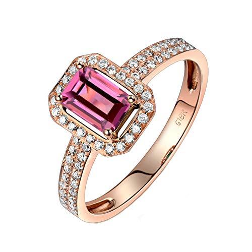 Daesar Anelli Amicizia Oro Rosa 18K, Anello Promessa Matrimonio Anello Tormalina Donna 0.75ct Rettangolare con Diamante 0.24 Anelli Amicizia Oro Rosa Misura 25
