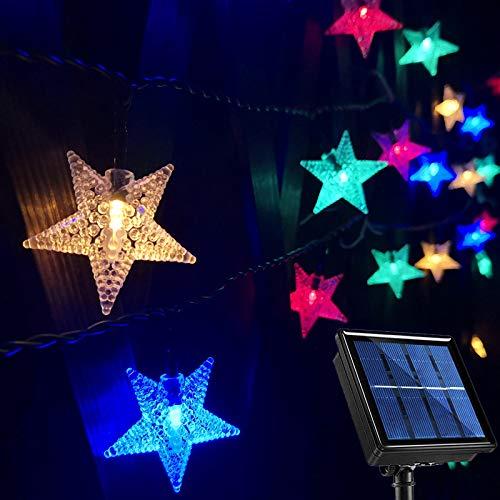 Outdoor Solar String Lights Waterproof, 50.4Ft 100 LED Solar Christmas Star Lights, 8-Mode Multicolor LED Star Solar Garden String Lights for Trees Patio Umbrella Fence Gazebo Balcony Summer Party