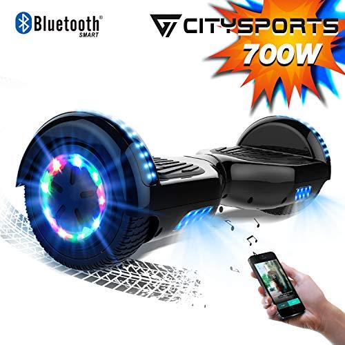 CITYSPORTS Hoverboard 6.5, Self Balance Scooter 6,5-Zoll Bluetooth, Segway-Motor 700W mit LED-Blitz-Rädern, elektrischer Skateboard-Kind-Erwachsene