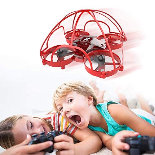 Mini Drohne für Kinder und Anfänger, RC Drone 360° Schutz, Spielzeug Drohne für Kinder, 3D-Flip, EIN-Tasten-Return, Headless Modus, 2 Batterien, Rot AT-66D