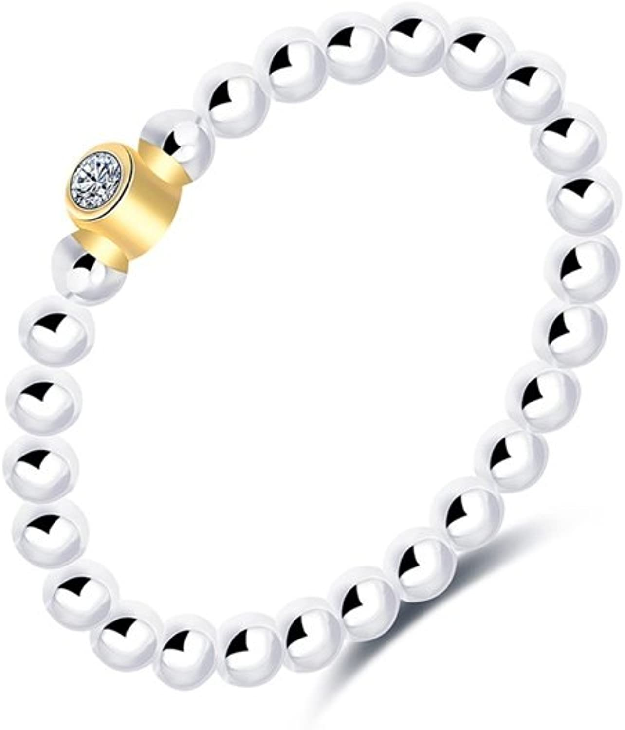 Ring Alliance Solitaire and White Swarovski Elements Crystal  bluee Pearls