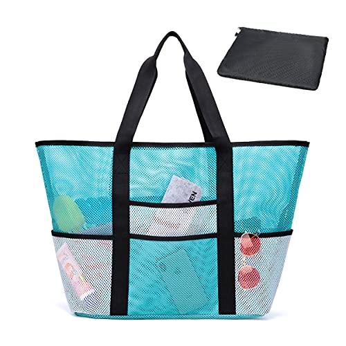 SeBeLi Große Mesh Strandtasche XXL, Kordelzug Tasche Schultertasche Handtasche Badetasche für Familie Reise Urlaub